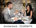 couple with champagne glasses... | Shutterstock . vector #521006476