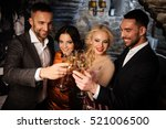 four friends with champagne... | Shutterstock . vector #521006500