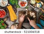 male hands preparing... | Shutterstock . vector #521006518