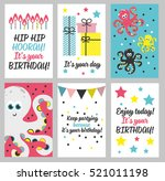 set of 6 cute creative cards... | Shutterstock .eps vector #521011198
