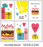 set of 6 cute creative cards... | Shutterstock .eps vector #521011234