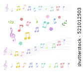 set of colorful music notes in... | Shutterstock .eps vector #521012503