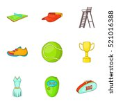 tennis icons set. cartoon... | Shutterstock . vector #521016388