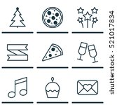 set of 9 happy new year icons.... | Shutterstock .eps vector #521017834