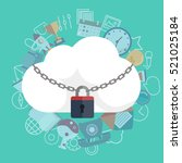cloud security concept. cloud... | Shutterstock .eps vector #521025184