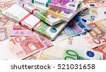 lots of cash money.  euros.... | Shutterstock . vector #521031658
