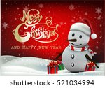 smiling snowman and santa... | Shutterstock .eps vector #521034994
