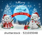 smiling snowman and santa... | Shutterstock .eps vector #521035048