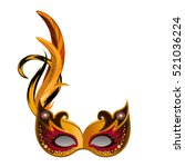 carnival mask with feathers... | Shutterstock .eps vector #521036224