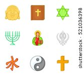 religious faith icons set.... | Shutterstock . vector #521036398