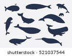 whale silhouette collection | Shutterstock . vector #521037544