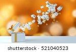 3d rendering  gift box on white ... | Shutterstock . vector #521040523