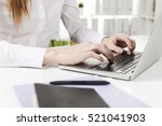 close up of a red haired woman... | Shutterstock . vector #521041903