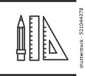 pencil and ruler linear icon.... | Shutterstock .eps vector #521044378
