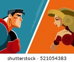 superheroes man and woman... | Shutterstock .eps vector #521054383