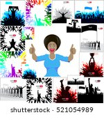 posters with cheering people   | Shutterstock .eps vector #521054989