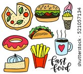 set of hand drawn fast food... | Shutterstock .eps vector #521057134
