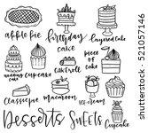 set of hand drawn dessert... | Shutterstock .eps vector #521057146