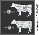cuts of beef. american and... | Shutterstock .eps vector #521060449