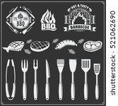 bbq set. steak icons  bbq tools ... | Shutterstock .eps vector #521062690