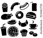 fast food icon set isolated on... | Shutterstock .eps vector #521062720
