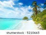Tropical White Sand Beach With...