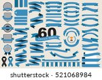 60 retro blue ribbons and labels.illustration eps10 | Shutterstock vector #521068984