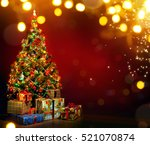 beautiful decorated christmas... | Shutterstock . vector #521070874