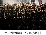 Concert Crowd. Hands Up  Rock...