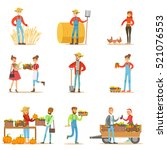 farmers men and women working... | Shutterstock .eps vector #521076553