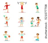 kids practicing different... | Shutterstock .eps vector #521077708