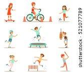 kids practicing different... | Shutterstock .eps vector #521077789