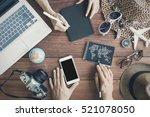 overhead view of traveler's... | Shutterstock . vector #521078050