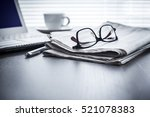 newspaper with computer on table | Shutterstock . vector #521078383