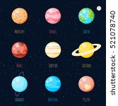 colorful solar system planets... | Shutterstock .eps vector #521078740