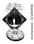 astronaut and compass tattoo....   Shutterstock .eps vector #521083948