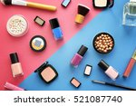 set of decorative cosmetics on... | Shutterstock . vector #521087740