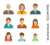 family members happy faces flat ... | Shutterstock . vector #521091940