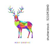 low poly triangle deer.... | Shutterstock .eps vector #521092840