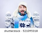 guy with trapper hat and blue... | Shutterstock . vector #521095318