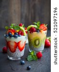 layered berry and chia seeds... | Shutterstock . vector #521097196