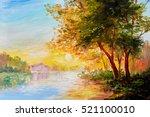 oil painting landscape  river... | Shutterstock . vector #521100010