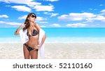 beautiful young bikini model... | Shutterstock . vector #52110160