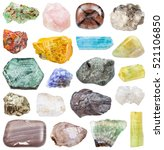 Small photo of set of various mineral stones: tanzanite, zoisite, apatite, orpiment, fluorite, hematite, phlogopite, datolite, suevite, danburite, halite, petalite, beryl, edenite, realgar, etc isolated on white
