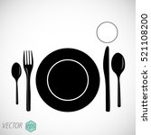 plate dish with forks and... | Shutterstock .eps vector #521108200