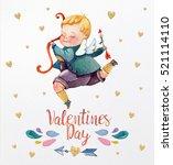watercolor valentine day cupid...   Shutterstock . vector #521114110