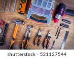workshop set. tools on the... | Shutterstock . vector #521127544