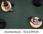 top view of two young people ... | Shutterstock . vector #521139424