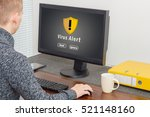 man using computer with... | Shutterstock . vector #521148160