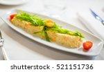 prawn salad on plate close up...
